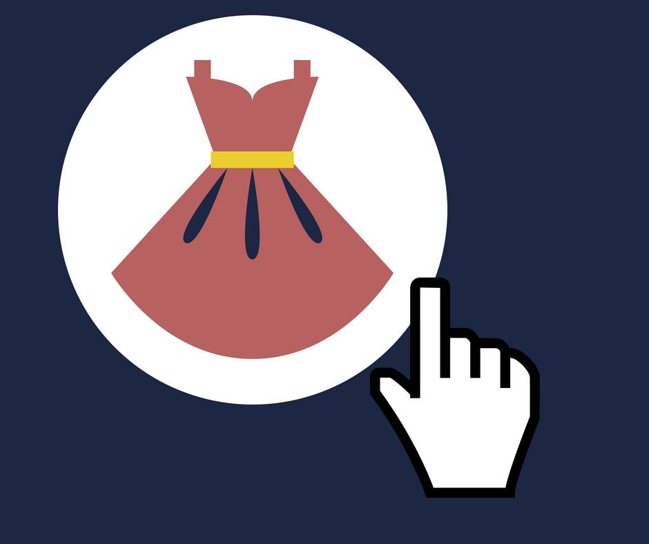 Como vender roupas na internet - vestido com uma mão clicando